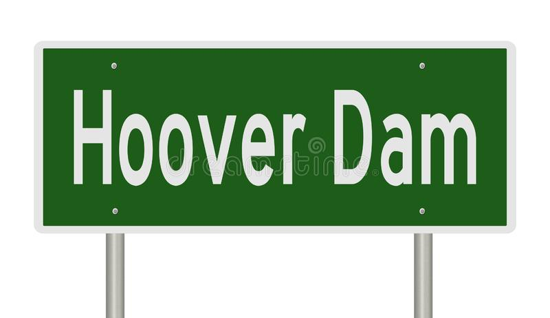 Highway sign for Hoover Dam. Rendering of a green road sign for Hoover Dam stock illustration
