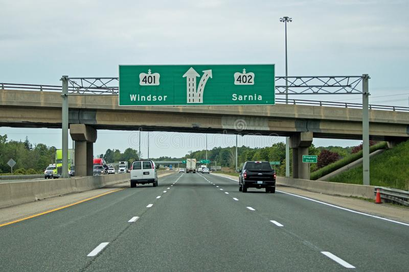 Highway Sign Indicating The Split Between Highways 401 and 402 stock image