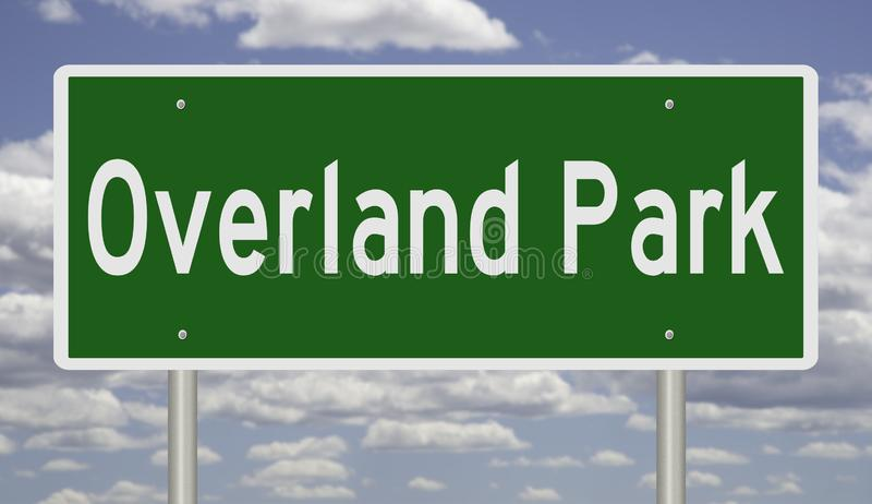 Highway sign for Overland Park Kansas. Rendering of a green highway sign for Overland Park Kansas stock photos