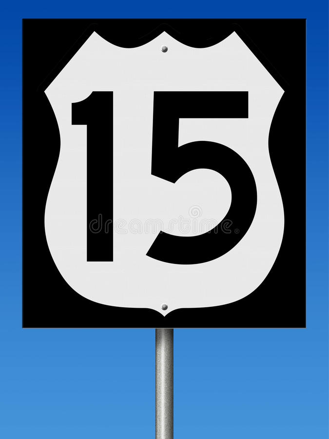Highway sign for Route 15 vector illustration