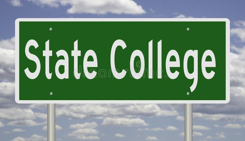 Highway sign for State College Pennsylvania vector illustration