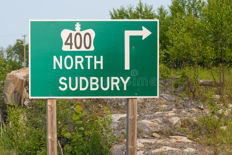 Highway 400 Sign. Highway 400 to Sudbury Traffic Sign stock photos
