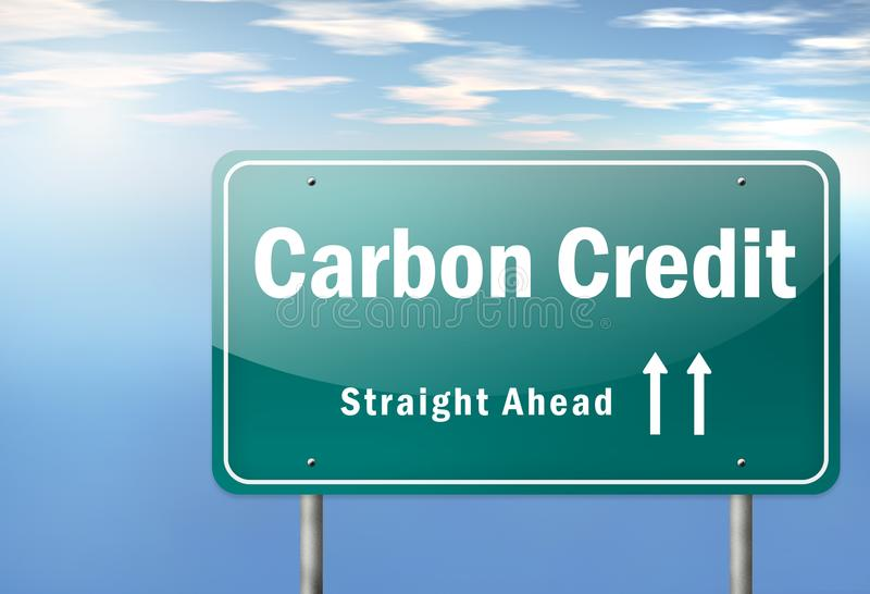 Highway Signpost Carbon Neutrality. Highway Signpost with Carbon Neutrality wording royalty free illustration