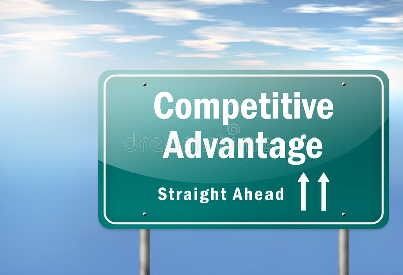 Highway Signpost Competitive Advantage. Highway Signpost with Competitive Advantage wording vector illustration