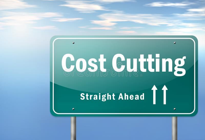 Highway Signpost Cost Cutting. Highway Signpost with Cost Cutting wording stock illustration