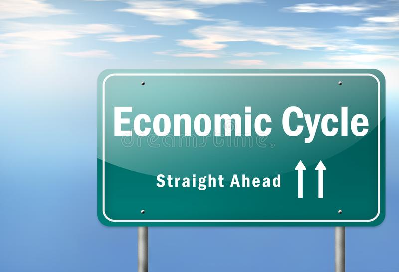 Highway Signpost Economic Cycle. Highway Signpost with Economic Cycle wording vector illustration