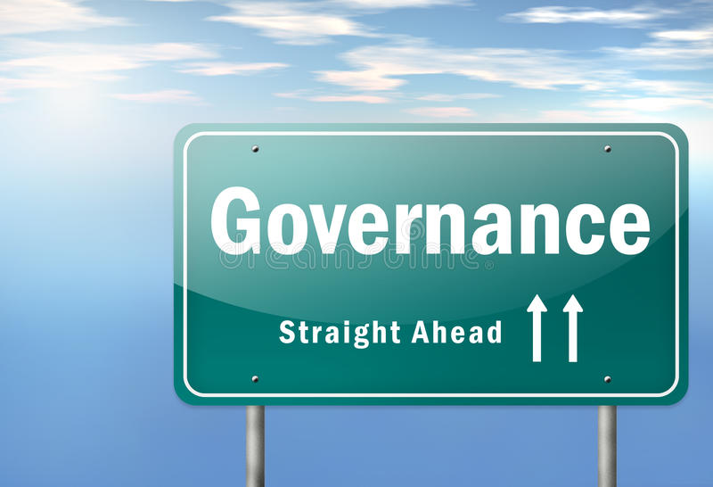 Highway Signpost Governance. Highway Signpost with Governance wording vector illustration