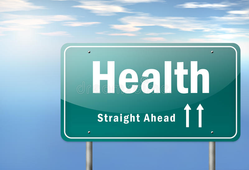 Highway Signpost Health. Highway Signpost with Health wording vector illustration