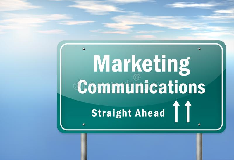 Highway Signpost Marketing Communications. Highway Signpost with Marketing Communications wording vector illustration