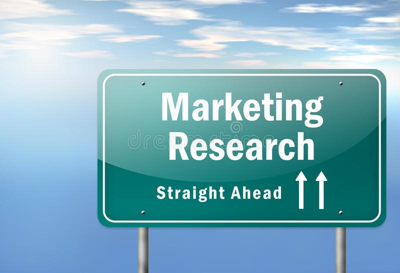 Highway Signpost Marketing Research. Highway Signpost with Marketing Research wording vector illustration