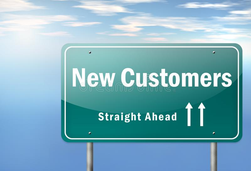 Highway Signpost New Customers royalty free illustration