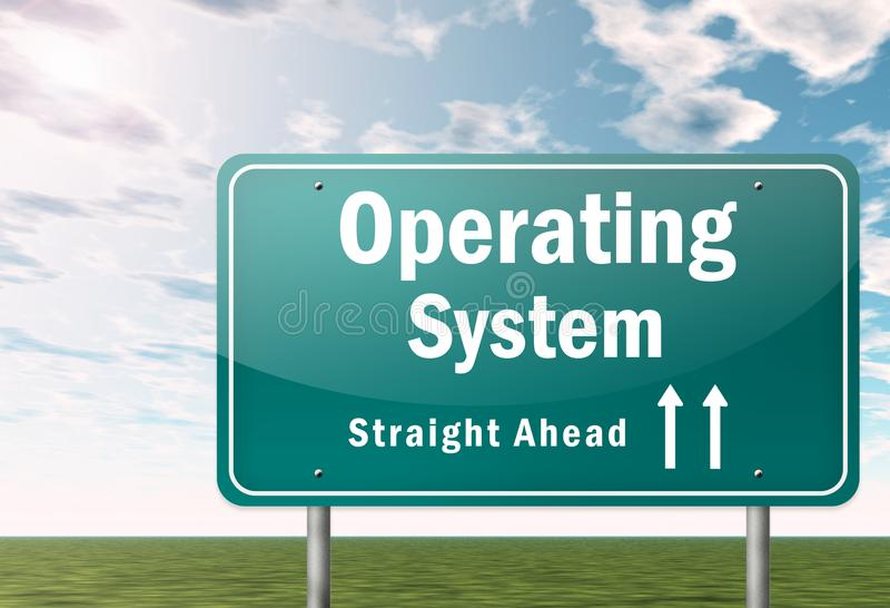 Highway Signpost Operating System. Highway Signpost with Operating System wording stock illustration
