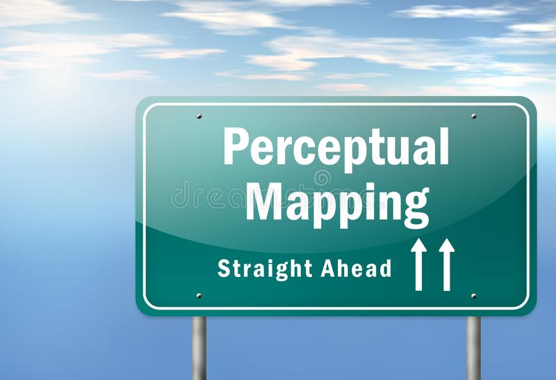Highway Signpost Perceptual Mapping. Highway Signpost with Perceptual Mapping wording stock illustration