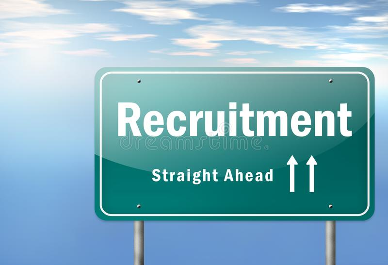 Highway Signpost Recruitment. Highway Signpost with Recruitment wording stock illustration