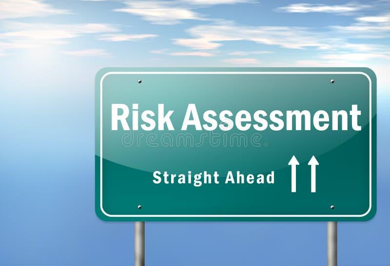Highway Signpost Risk Assessment. Highway Signpost with Risk Assessment wording stock illustration