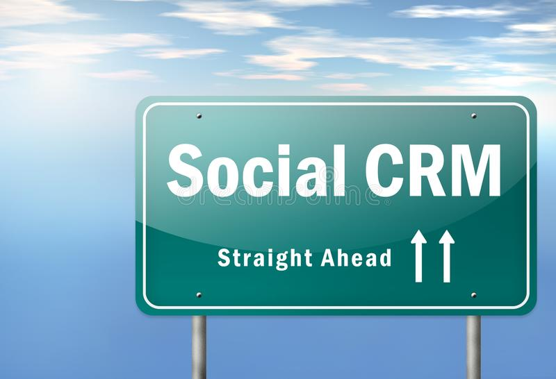 Highway Signpost Social CRM. Highway Signpost with Social CRM wording vector illustration
