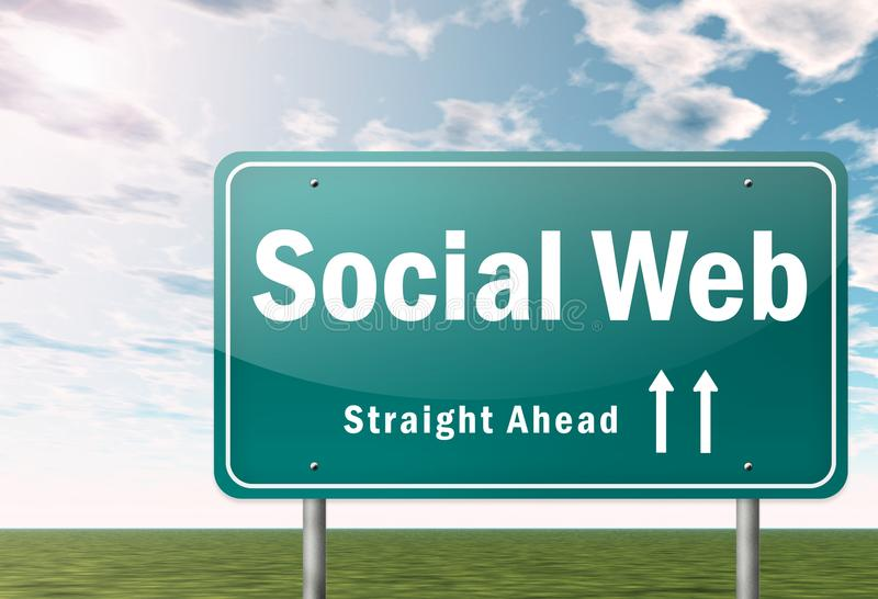 Highway Signpost Social Web. Highway Signpost with Social Web wording stock illustration