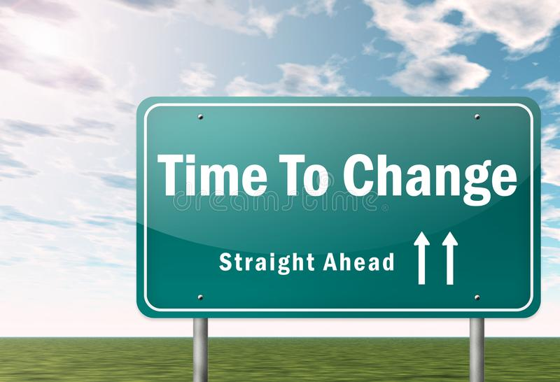 Highway Signpost Time To Change. Highway Signpost with Time To Change wording stock illustration