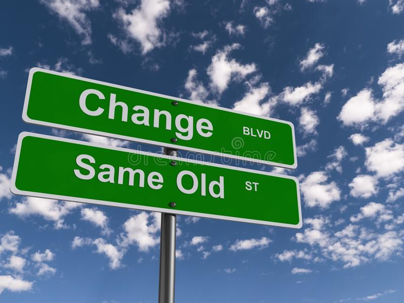 Change and same old street signs. Highway signs with words change boulevard and same old street, blue sky and cloudscape background stock photo