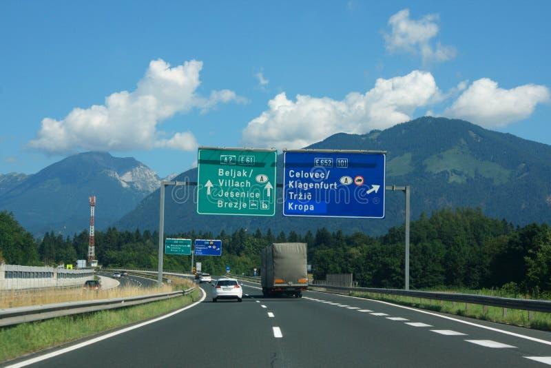 Highway in the Slovenian Apennines. Highway with signs in the Slovenian Apennines stock photography
