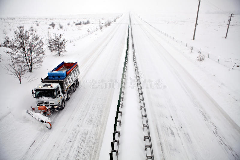Highway snow plow royalty free stock photography