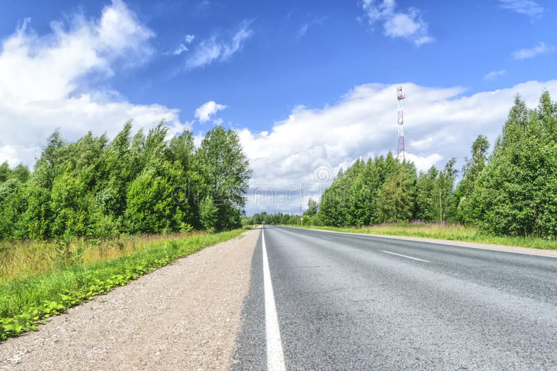 Highway on a summer day royalty free stock image