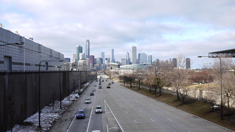 Highway to chicago royalty free stock photo