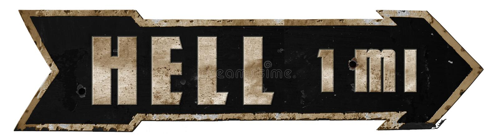 Highway to Hell Road Sign Metal Grunge Arrow stock images