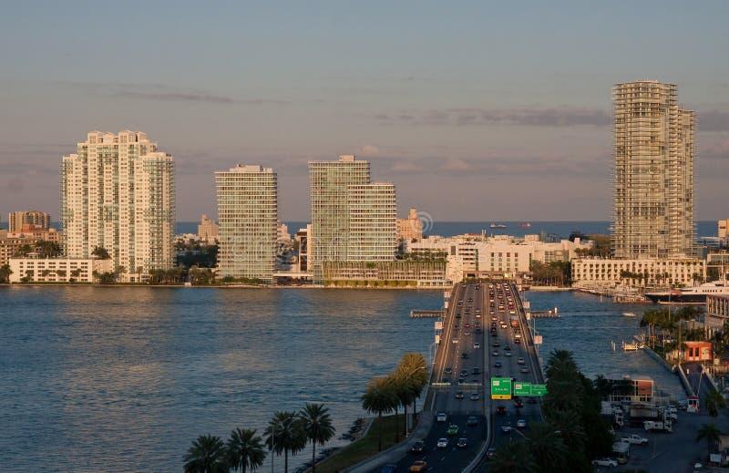 Highway to Miami Beach stock photos