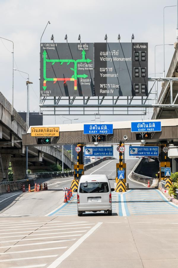 Highway toll booths. Cars passing through highway toll booths, Bangkok, Thailand stock photos