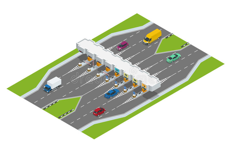 Highway toll. Turnpike tollson. Road payment checkpoint with toll barriers on the highway, cars and trucks. Flat 3d royalty free illustration