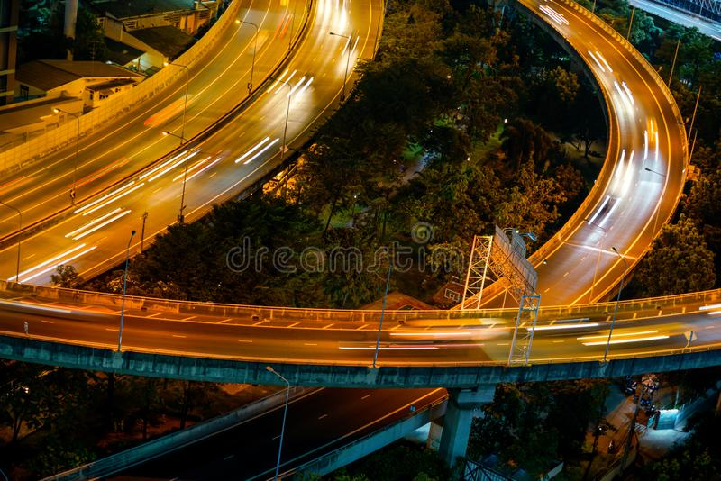 Highway from top view in rush hour, Bangkok. Highway from top view in rush hour evening, Bangkok Thailand royalty free stock image