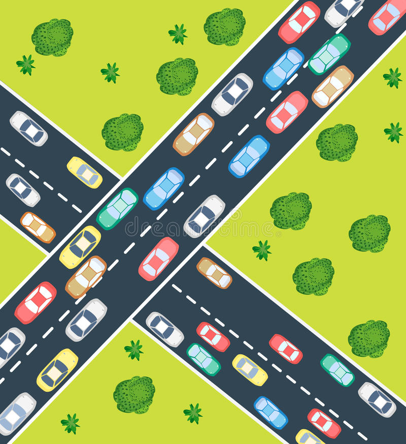 Download Highway traffic stock vector. Image of tree, scene, traffic - 26199066