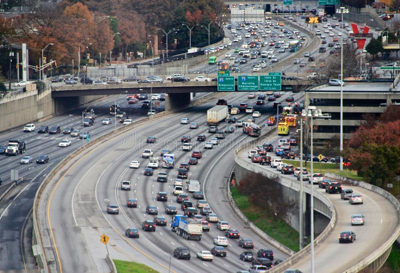 Highway traffic in Atlanta, USA stock images