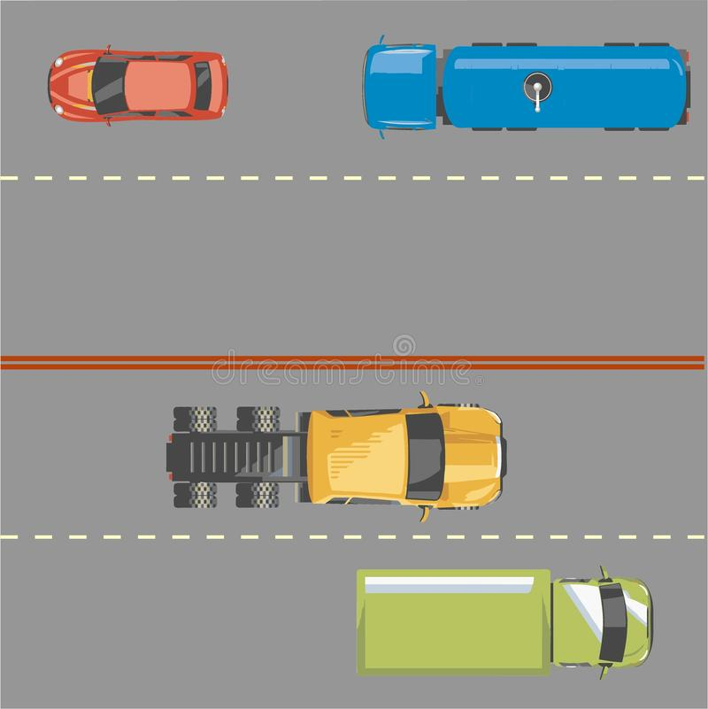 Highway traffic concept with top view cars and trucks on asphalt road vector illustration stock illustration