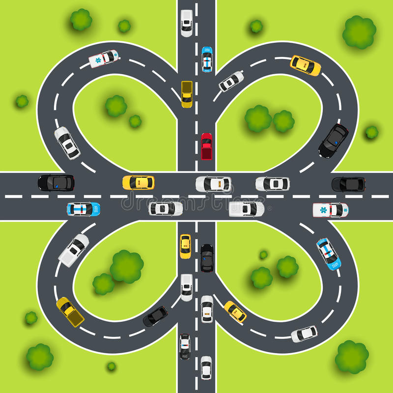 Highway traffic illustration. Highway traffic cloverleaf intersection top view background vector illustration vector illustration