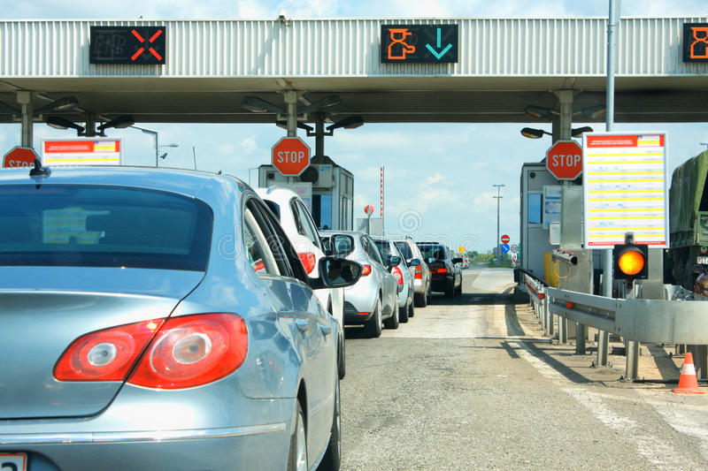 Highway traffic jam on pay toll station royalty free stock photo