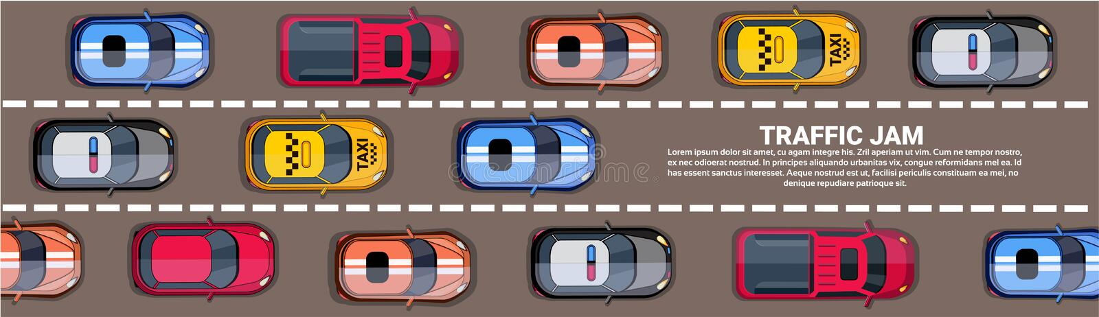 Highway Traffic Jam Top Above View With Road Full Of Different Cars Horizontal Banner. Flat Vector Illustration vector illustration