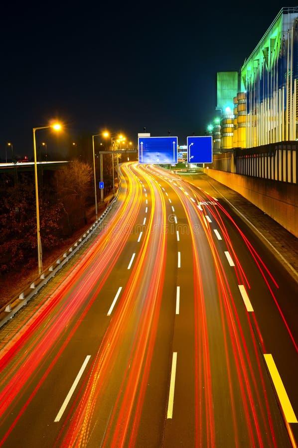 Highway traffic at night. Highway city traffic at night in berlin stock photo