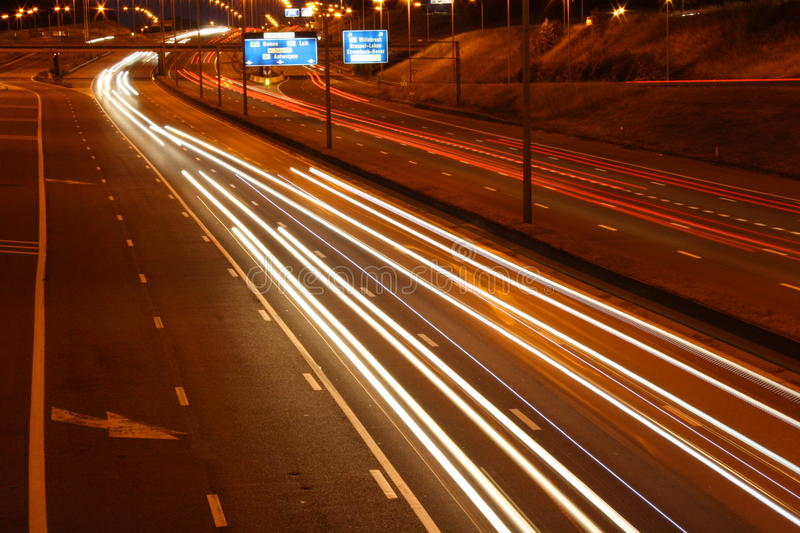 Highway traffic at night royalty free stock images