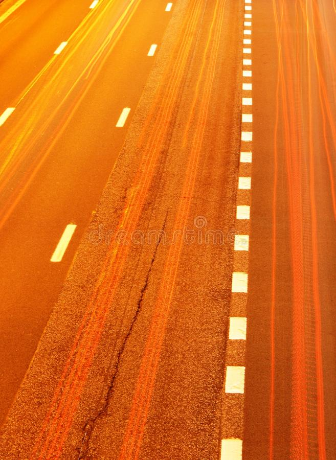 Highway traffic at night royalty free stock photos