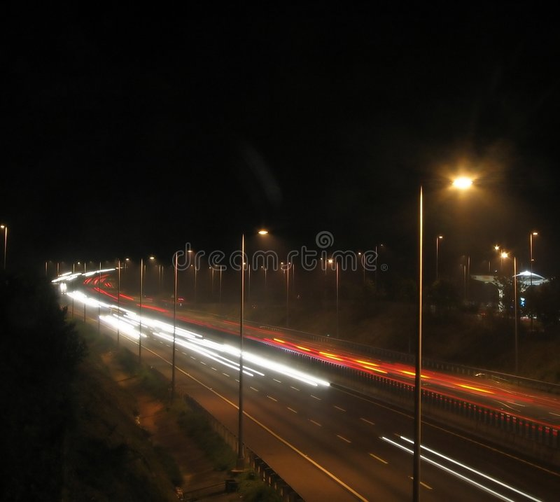 Download Highway Traffic at Night stock photo. Image of blur, barrier - 305054