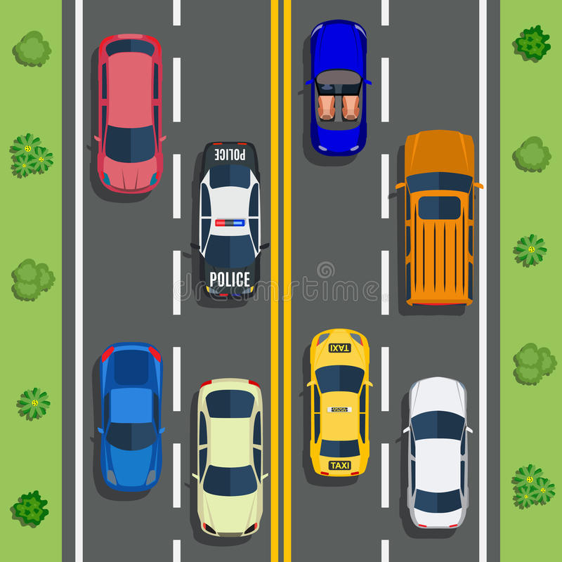 Highway traffic with top view cars vector illustration