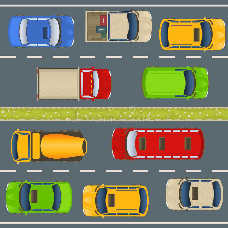 Highway traffic top view vector illustration