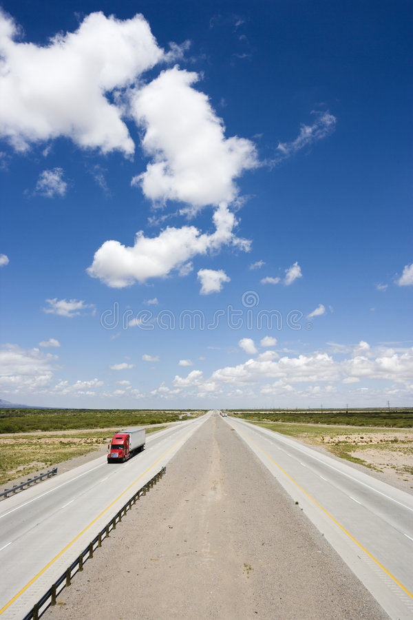 Highway With Truck. Stock Photo