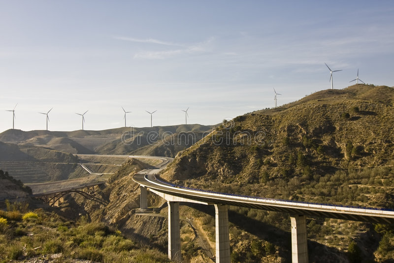 Highway under windmill scenic