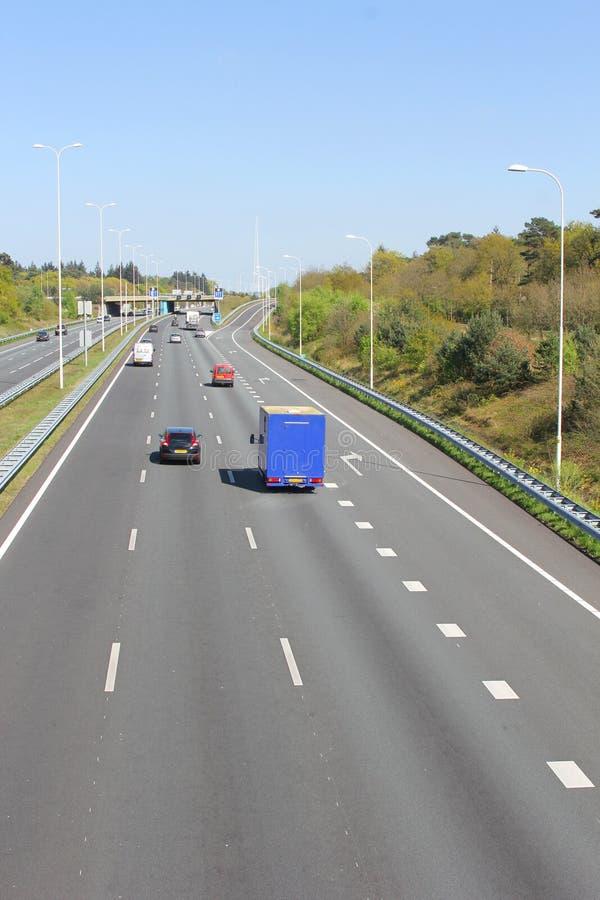 Traffic on the Highway A28, Leusden, Amersfoort, Netherlands. Traffic on highway A28 at the village Leusden, near Amersfoort, in the Netherlands royalty free stock images