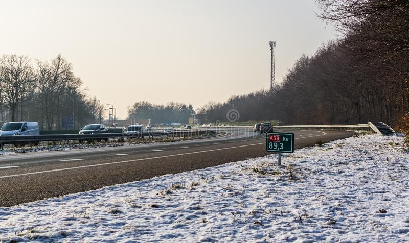 The A58 highway during winter season, Roosendaal, The netherlands, 23 january, 2019. A58 highway during winter season, Roosendaal, The netherlands, 23 january stock photo