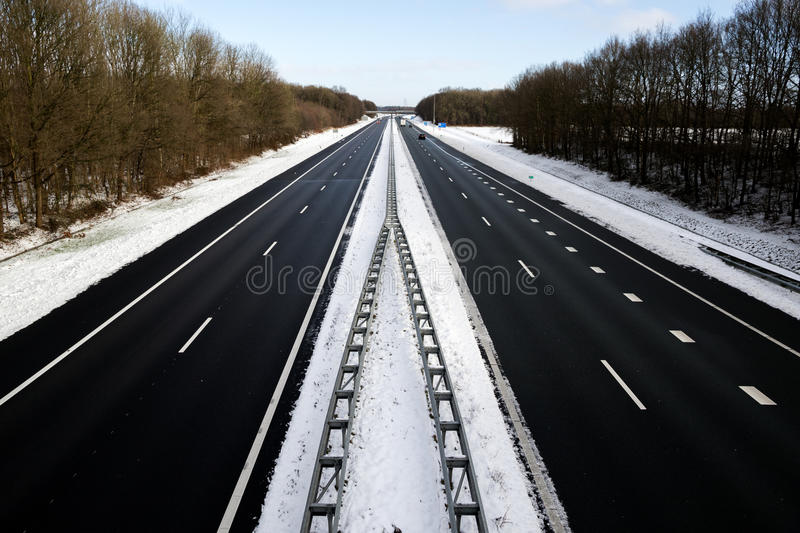 Highway winter snow stock photography