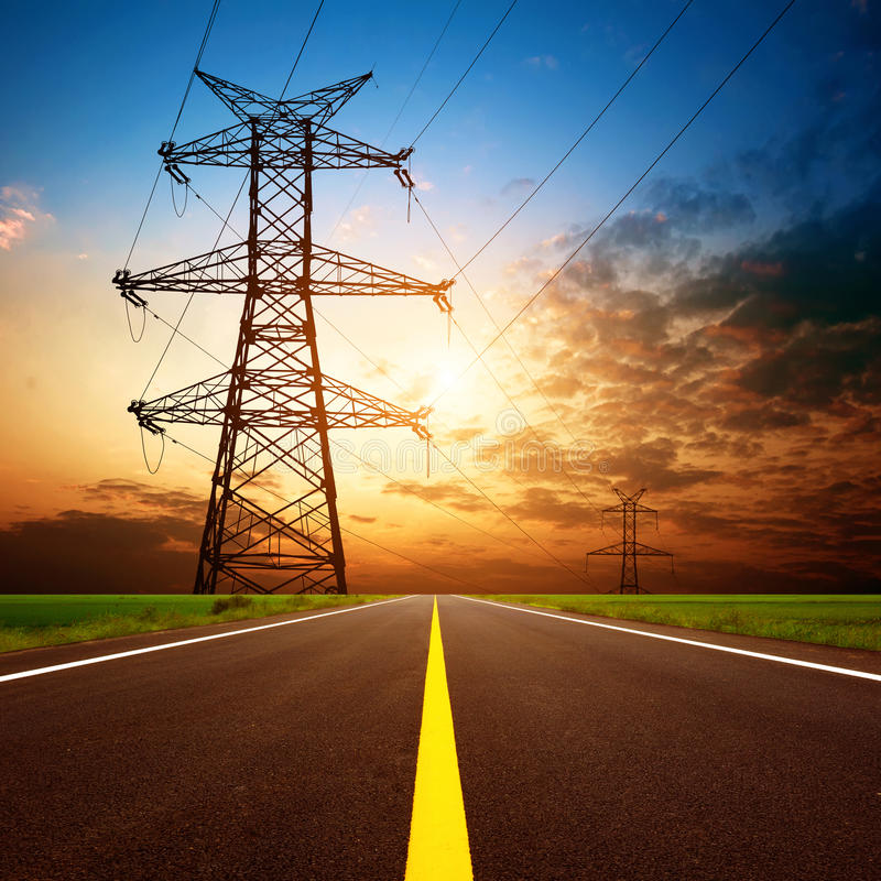 Free Highways And High-voltage Tower Stock Images - 27067714